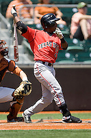 Second baseman Jamodrick McGruder #2 of the Texas Tech Red Raiders swings against the Texas Longhorns on April 17, 2011 at UFCU Disch-Falk Field in Austin, Texas. (Photo by Andrew Woolley / Four Seam Images)