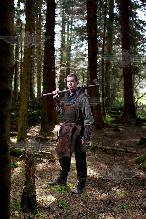 Roy Murray, 28, is a member of the Territorial Army and just returned from a tour in Afghanistan. He is also one of a 250 strong 'clan' (Clanranald) recreating medieval history under the leadership of Charles John Allan at Duncarron Fort, Denny..