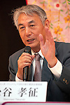 "April 24, 2013, Tokyo, Japan - The organizer of KYOMAF, Takayuki Mastutani speaks at ""Kyoto international Manga Anime Fair 2013"" press conference at Kabukiza Tower in Tokyo. In the press conference the organizers of KYOMAF, Mayor of Kyoto and Japan EXPO (in France) signed a document to collaborate together to promote the anime and manga culture in Europe and United States. The KYOMAF is the largest manga/anime fair in West Japan and will be free entrance for elementary school students and foreigners with passport. It will be held from September 6 to 8 at Miyako Messe, Kyoto. (Photo by Rodrigo Reyes Marin/AFLO).."