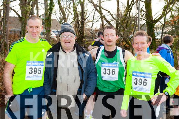 Tony Foley Killorglin, Tom Joe O'Donoghue, Ger and Patrick O'Shea Iveragh at the starting line of the Gneeveguilla AC winter race series in Killarney on Saturday