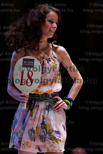 Anna Zsiros attends the Miss Hungary 2010 beauty contest held in Budapest, Hungary on November 29, 2010. ATTILA VOLGYI