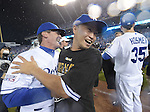 (L-R) Mike Jirschele, Norichika Aoki (Royals),<br /> OCTOBER 5, 2014 - MLB :<br /> Norichika Aoki of the Kansas City Royals celebrates with third base coach Mike Jirschele after winning the American League Division Series (ALDS) Game 3 against the Los Angeles Angels at Kauffman Stadium in Kansas City, Missouri, United States. (Photo by AFLO)