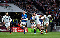 Manu Tuilagi of England powers to the line to score his try during the Guinness Six Nations match between England and Italy at Twickenham Stadium on March 9th, 2019 in London, United Kingdom. Photo by Liam McAvoy.