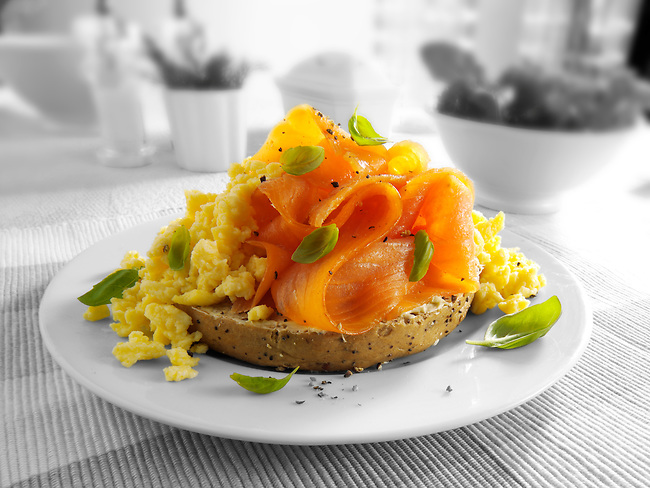 Smoked salmon scrambled eggs bagel