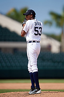 Detroit Tigers pitcher Xavier Javier (53) gets ready to deliver a pitch during an Instructional League game against the Toronto Blue Jays on October 12, 2017 at Joker Marchant Stadium in Lakeland, Florida.  (Mike Janes/Four Seam Images)
