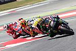 Gran Premi Monster Energy de Catalunya 2017.<br /> Moto GP Race.<br /> Johann Zarco, Alvaro Bautista &amp; Jorge Lorenzo.