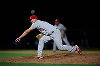 Vancouver Canadians relief pitcher Luke Gillingham (17) follows through on his delivery during a Northwest League game against the Tri-City Dust Devils at Gesa Stadium on August 21, 2019 in Pasco, Washington. Vancouver defeated Tri-City 1-0. (Zachary Lucy/Four Seam Images)