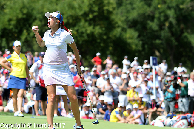 DES MOINES, IA - AUGUST 19: USA's Paula Creamer reacts after making her eagle putt on the 4th hole of their afternoon four-ball match Saturday at the 2017 Solheim Cup in Des Moines, IA. (Photo by Dave Eggen/Inertia)