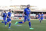 Ollie Palmer of Grimsby Town (right) celebrates scoring the opening goal against Woking during the Vanamara Conference League match at the Kingfield Stadium, Woking, Surrey<br /> Picture by David Horn/eXtreme aperture photography +44 7545 970036<br /> 07/03/2015