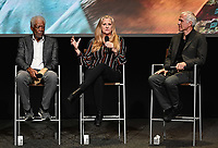 """LOS ANGELES - JUNE 5:  Morgan Freeman, Lori McCreary and James Younger attend an FYC event for National Geographic's """"The Story of God"""" at the TV Academy on June 5, 2019 in Los Angeles, California. (Photo by Scott Kirkland/National Geographic/PictureGroup)"""