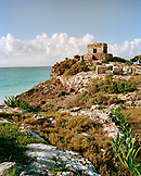 MEXICO, Maya Riviera, the Tulum Ruins against the Caribbean Sea