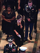 Mrs. Cindy McCain wipes away tears as she walks in the recessional ending the memorial service for her husband, the late United States Senator John S. McCain, III (Republican of Arizona), in the Washington National Cathedral in Washington, DC on Saturday, September 1, 2018.<br /> Credit: Ron Sachs / CNP<br /> <br /> <br /> (RESTRICTION: NO New York or New Jersey Newspapers or newspapers within a 75 mile radius of New York City)
