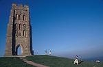 Glastonbury Tor and the ruins of St Michaels Church.  Glastonbury Somerset.1989 1980s UK