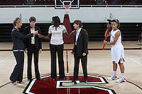 STANFORD, CA - SEPTEMBER 28:  Kate Paye, Amy Tucker, Bobbie Kelsey, Tara Vanderveer and Rosalyn Gold-Onwude during picture day on September 28, 2009 at Maples Pavilion in Stanford, California.