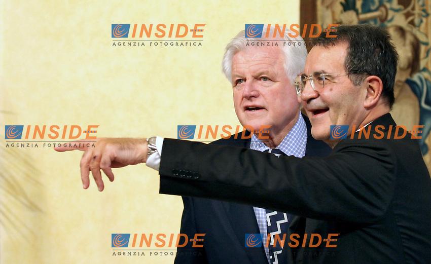 Roma 09-11-2006 Palazzo Chigi:Incontro tra il Presidente del Consiglio Romano Prodi e il Senatore Ted Kennedy<br /> Nella foto Romano Prodi e Ted Kennedy<br /> Photo Serena Cremaschi Inside