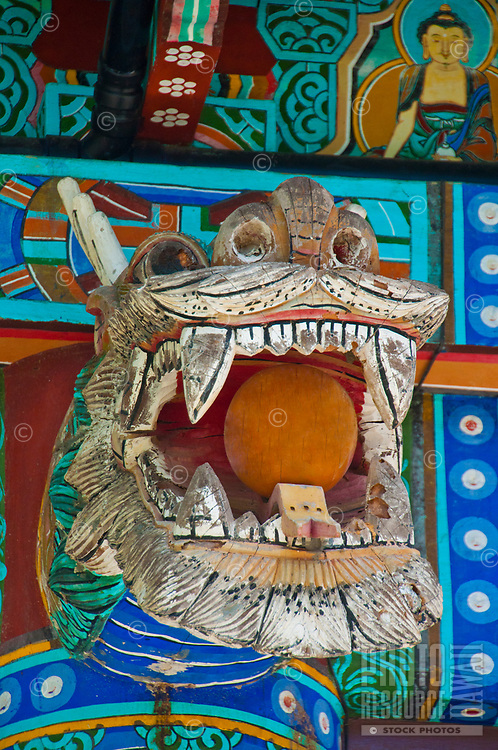 One of the many colorful and detailed figures at Mu-Ryang-Sa (or Broken Ridge Temple), a Korean Buddhist temple in Palolo Valley, Honolulu, O'ahu.