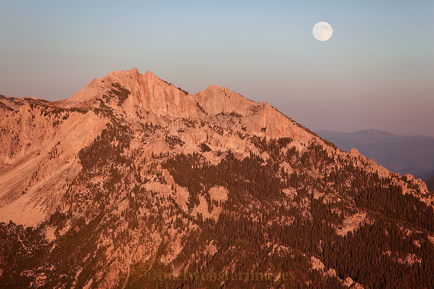 Lone Peak in the Wasatch Mountains with a full moon.