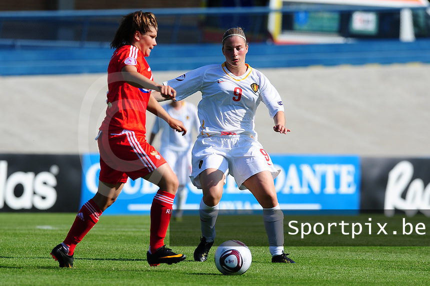 European Women's Under - 19 Championship 2011 Italy : Russia - Belgium U19 : Jana Coryn in duel met Tatiana Ananyeva.foto DAVID CATRY / VROUWENTEAM.BE