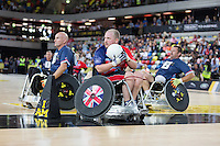 Friday 12th September 2014<br /> Picture: Geraint Price<br /> RE: Team GB's Geraint Price competing in wheelchair rugby on the 2nd day of the Invictus Games 2014 at Queen Elizabeth Olympic Park, London, United Kingdom