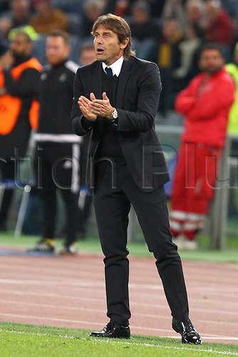 31st October 2017, Stadio Olimpico, Rome, Italy; UEFA Champions League, Roma versus Chelsea;  Antonio Conte coach of Chelsea on the touchline