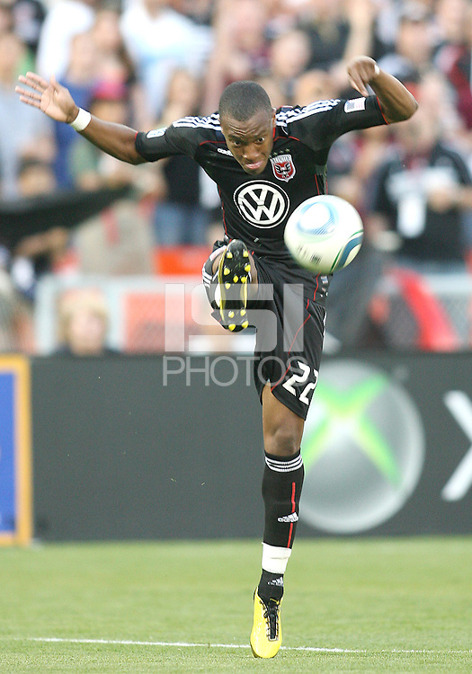 Rodney Wallace #22 of D.C. United hoofs the ball up field during an MLS match against the Colorado Rapids on May 15 2010, at RFK Stadium in Washington D.C. Colorado won 1-0.
