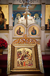 An icon of the Nativity at the center of the chapel. Christmas Liturgy Service, St. Sava Serbian Orthodox Church, Jackson, Calif.