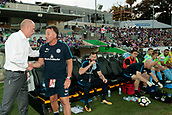 9th January 2018, nib Stadium, Perth, Australia; A League football, Perth Glory versus Melbourne City; Kenny Lowe coach of Perth Glory shakes hands with Warren Joyce coach of Melbourne City before the start of the game