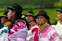 "Women, wearing colorful clothes, watch a procession during the Inti Raymi celebration in Pichincha province, Ecuador, 27 June 2010. Inti Raymi, ""Festival of the Sun"" in Quechua language, is an ancient spiritual ceremony held in the Indian regions of the Andes, mainly in Ecuador and Peru. The lively celebration, set by the winter solstice, goes on for various days. The highland Indians, wearing beautiful costumes, dance, drink and sing with no rest. Colorful processions in honor of the God Inti (Sun) pass through the mountain villages giving thanks for the harvest and expressing their deep relation to the Mother Earth (Pachamama)."