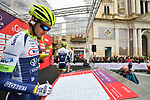 Wanty-Gobert Cycling Team at sign on before the start of Stage 3 of Il Giro di Sicilia running 186km from Caltanissetta to Ragusa, Italy. 5th April 2019.<br /> Picture: LaPresse/Massimo Paolone | Cyclefile<br /> <br /> <br /> All photos usage must carry mandatory copyright credit (&copy; Cyclefile | LaPresse/Massimo Paolone)