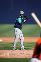 Lynchburg Hillcats starting pitcher Tanner Tully (29) gets ready to deliver a pitch during the first game of a doubleheader against the Frederick Keys on June 12, 2018 at Nymeo Field at Harry Grove Stadium in Frederick, Maryland.  Frederick defeated Lynchburg 2-1.  (Mike Janes/Four Seam Images)