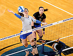 BROOKINGS, SD - OCTOBER 28:  Sierra Peterson #1 from South Dakota State tries for a kill against Oral Roberts Friday night at Frost Arena in Brookings. (Photo by Dave Eggen/Inertia)