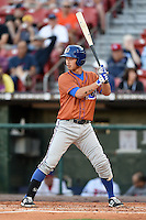Durham Bulls shortstop Hak-Ju Lee (2) at bat during a game against the Buffalo Bisons on July 10, 2014 at Coca-Cola Field in Buffalo, New  York.  Durham defeated Buffalo 3-2.  (Mike Janes/Four Seam Images)