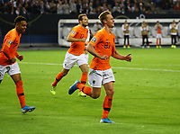 celebrate the goal, Torjubel zum 1:1 Ausgleich Frenkie de Jong (Niederlande) - 06.09.2019: Deutschland vs. Niederlande, Volksparkstadion Hamburg, EM-Qualifikation DISCLAIMER: DFB regulations prohibit any use of photographs as image sequences and/or quasi-video.