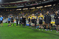 The Hurricanes reserves bench during the Super Rugby semifinal match between the Hurricanes and Chiefs at Westpac Stadium, Wellington, New Zealand on Saturday, 30 July 2016. Photo: Dave Lintott / lintottphoto.co.nz