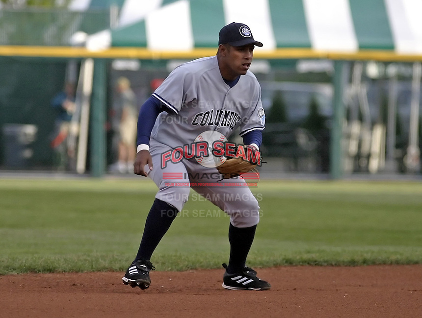 June 4, 2004:  Felix Escalona of the Columbus Clippers, International League (AAA) affiliate of the New York Yankees, during a game at Dunn Tire Park in Buffalo, NY.  Photo by:  Mike Janes/Four Seam Images