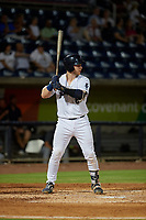 Pensacola Blue Wahoos Ryan Jeffers (8) at bat during a Southern League game against the Mobile BayBears on July 25, 2019 at Blue Wahoos Stadium in Pensacola, Florida.  Pensacola defeated Mobile 3-2 in the second game of a doubleheader.  (Mike Janes/Four Seam Images)