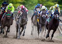 BALTIMORE, MD - MAY 20:  Classic Empire  #5, ridden by Julien Leparoux, leads the field in to the turn for home as Cloud Computing  #2 (L), ridden by Javier Castellano, closes in on Preakness Stakes Day at Pimlico Race Course on May 20, 2017 in Baltimore, Maryland. (Photo by Douglas DeFelice/Eclipse Sportswire/Getty Images)