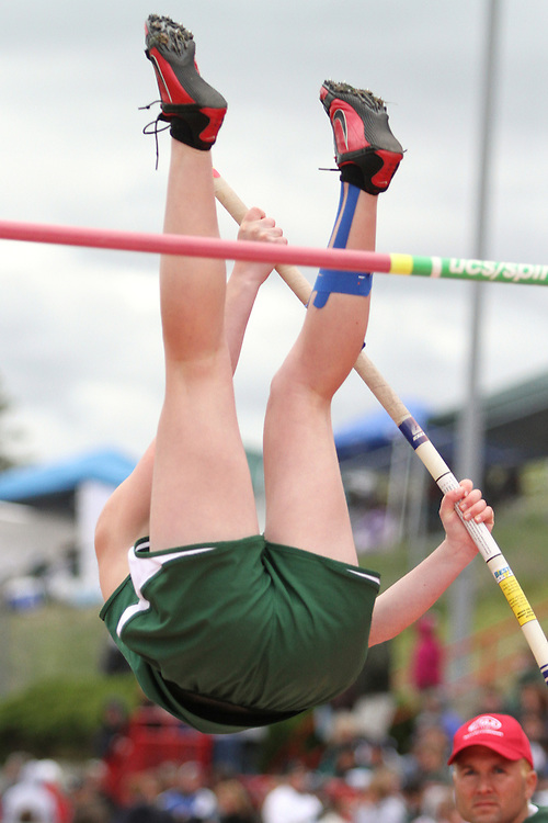 Photograph from the WIAA State Championships at Eastern Washington University in Cheney, Washington, during the 2010 Mt. Rainier Lutheran High School track and field season (pole vault photo sequence, 6 of 14).