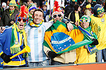 15 JUN 2010: Brazil fans (and one in an Argentina jersey) in the stands, pregame. The Brazil National Team played the North Korea National Team at Ellis Park Stadium in Johannesburg, South Africa in a 2010 FIFA World Cup Group G match.