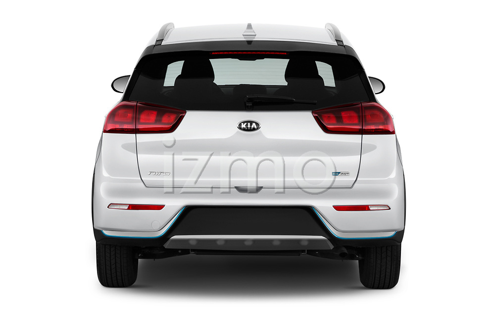 Straight rear view of a 2018 KIA Niro LX PHEV 5 Door Hatchback stock images