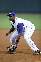Winston-Salem Dash first baseman Chris Jacobs (33) on defense against the Myrtle Beach Pelicans at BB&T Ballpark on May 9, 2015 in Winston-Salem, North Carolina.  The Dash defeated the Pelicans 6-1 in the second game of a double-header.  (Brian Westerholt/Four Seam Images)