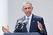 United States President Barack Obama makes a statement after it was announced Iran and and six world powers agreed on the outlines of an understanding that would open the path to a final phase of nuclear negotiations in the press briefing of the White House April 2, 2015 in Washington, DC. <br /> Credit: Olivier Douliery / Pool via CNP