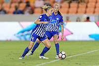 Houston, TX - Saturday July 22, 2017: Megan Oyster and Julie King during a regular season National Women's Soccer League (NWSL) match between the Houston Dash and the Boston Breakers at BBVA Compass Stadium.