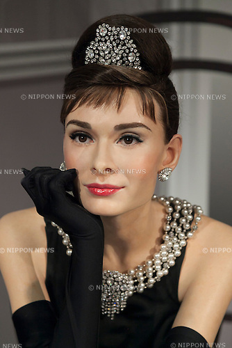 A wax figure of Audrey Hepburn, British actress on display at the Madame Tussauds Tokyo wax museum in Odaiba, Tokyo, June 15, 2015. The world famous British wax museum ''Madame Tussauds'' opened its 14th permanent branch in Tokyo in 2013 and exhibits international and local celebrities, sports players and politicians. New additions to the collection include wax figures of the Japanese figure skater Yuzuru Hanyu and the actor Benedict Cumberbatch. The wax figure of Benedict Cumberbatch will be exhibited until June 30th. (Photo by Rodrigo Reyes Marin/AFLO)