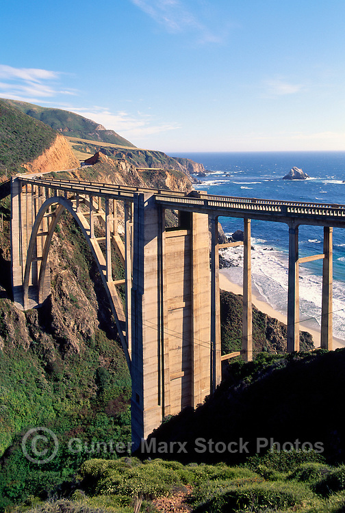 Bixby Creek Bridge and Rugged Coastline along Pacific West Coast, Big Sur, California, USA - along Pacific Coast Highway 1