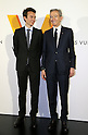 "April 21, 2016, Tokyo, Japan - French luxury brand group LVMH chairman and CEO Bernard Arnault (R) smiles with his son Antoine during a photo call for the reception of Louis Vuitton's art exhibition in Tokyo on Thursday, April 21, 2016. French luxury barnd Luis Vuitton will hold the exhibition ""Volez, Voguez, Voyagez"" in Tokyo from April 23 through June 19.  (Photo by Yoshio Tsunoda/AFLO) LWX -ytd-"