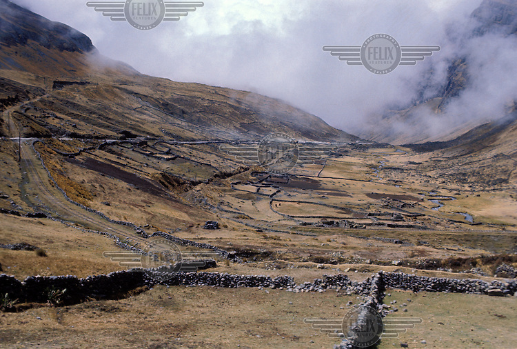 Road and railway running through the Altiplano.