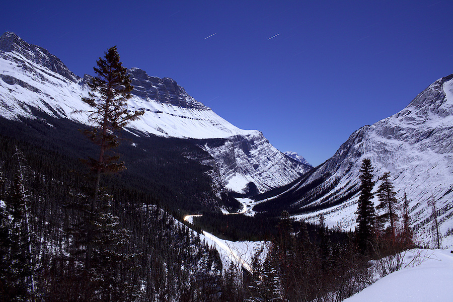 Evening from a hilltop along the Icefields Parkway in Alberta, Canada in the winter.