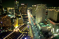 Aerial, evening view of the New Orleans Central Business District skyline. New Orleans, Louisiana.