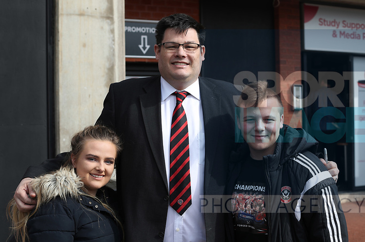 Mark Labbett from TVs The Chase with fans during the English League One match at Bramall Lane Stadium, Sheffield. Picture date: April 30th, 2017. Pic credit should read: Jamie Tyerman/Sportimage